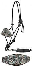 SUGAR SKULL Leather Noseband Horse Size Black Nylon Rope Halter NEW Horse Tack