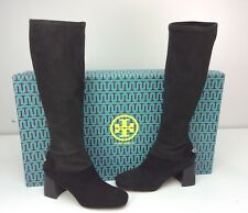 Tory Burch Sidney 70mm Boots Black Stretch Suede Tall Block Heel Size 10.5