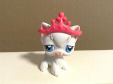 Littlest Pet Shop Cat Kitty Angora Accessory Crown White Blue Eyes #9