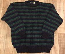 Men's Vintage Burberry Ireland 100% Wool Hipster Stripped Handmade Sweater Sz L