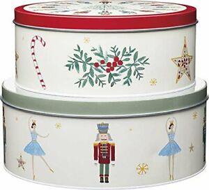 THE NUTCRACKER Christmas CAKE STORAGE TINS Set of 2 Biscuits Soldier Ballerina