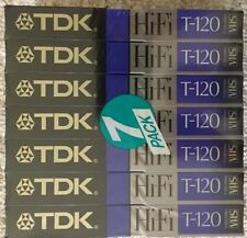 (7) New Sealed TDK T-120 Blank VHS VCR Tapes Hi-Fi Extra High Grade Sound Color