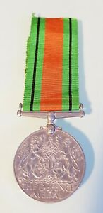 Vintage WWII - 1939 -1945 THE DEFENCE MEDAL - Metal Medal and Ribbon