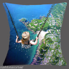 "NEW SURREAL PHOTO GIRL ON SWING BIRD'S EYE VIEW OVER SEA/LAND 16"" Cushion Cover"