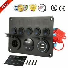 5 Gang ON-OFF Toggle Switch Panel 2 USB Charger 12V For Car Marine RV Boat AU