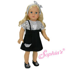 """Doll Clothes 18"""" 3-piece Black Sequin Party Dress With Headband And Purse"""