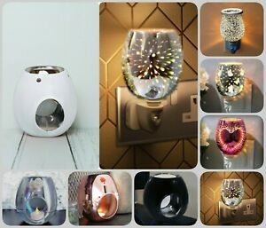 Glass Fragrance Oil Burner Yankee Candle Wax Melt Tart Warmer Tealight Holder UK