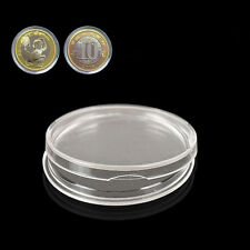 10pcs 27mm Applied Clear Round Cases Coin Storage Capsules Holder Plastic GE