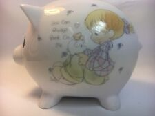 1985 Enesco Precious Moments Piggy Bank Girl With Piggy Bank