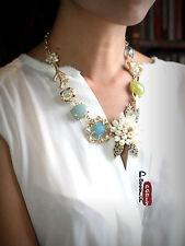 Collier Fleur Perle Conque Bleu Vert Retro Vintage Original Ancien Style Carol 1