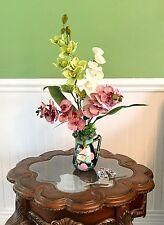 Asian Tropical Silk Purple, White and Green Orchids Floral Arrangement Art Deco