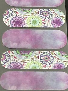 Jamberry Half Sheet -  Purple and Green Mixed Mani Floral NAS Flowers