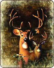 "QUEEN SIZE SHADOW BEASTS WHITE TAIL DEER BUCK HEAVY WEIGHT WARM  BLANKET 79""x96"""