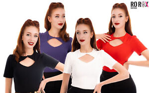 Ro Rox Eva Vintage Pinup Rockabilly 1950's Work Office Blouse Retro Style Top