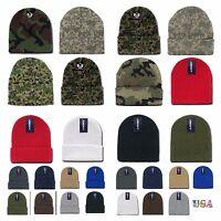 Adult Kid Plain Ribbed Beanie Cap Camo Army Military Hunting Knit Ski Winter Hat