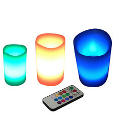 3Pcs Wax  Led Candle 12 Color-changing Light Set & Remote Control With Timer Hot