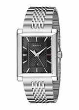 YA138401 NEW Gucci G-Timeless Rectangle Black Dial Silver-Tone Steel Men's Watch