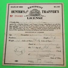Antique Rare 1921 Resident Ohio Hunting & Trappers License - Cloth Back - #17