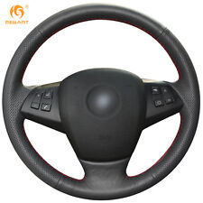 Soft Black Genuine Leather Steering Wheel Cover Wrap for BMW E70 X5 2008-2013