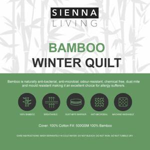 SIENNA LIVING Winter 500GSM 100% Bamboo Fill Anti-Allergy Quilt Doona Duvet