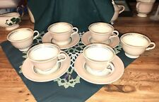 Vintage Federal Coral Pink Footed Six Cups And Four Saucers No Backstamp