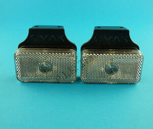 2 x Front Position Clear Marker Lamp Light on Bracket - Trailers & Horsebox