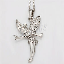 18K White Gold Filled Beautiful Crystal Angel Pendant + Chain Necklace Set H031
