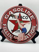 VINTAGE ''TEXACO GASOLINE''  GAS & OIL PUMP PLATE 12 INCH PORCELAIN SIGN