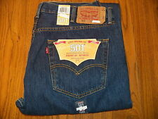 New LEVIS 501 34 Waist 34 Leg Straight Button Fly Mens Dark Blue Jeans 34 W-34 L