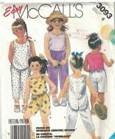 3093 Vintage McCalls Sewing Pattern Girls Pullover Top Pants Shorts Easy OOP SEW