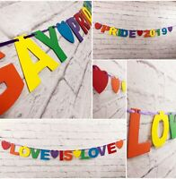 GAY PRIDE 2019 BANNERS LOVE PEACE RAINBOW PRIDE BUNTING LOVE IS LOVE HEARTS