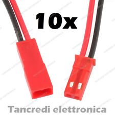 10x CONNETTORI JST 2 PIN 1,25mm 5pz MASCHIO + 5pz FEMMINA MODELLISMO RC BATTERY