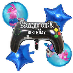 Set of 5 Fortnite Gaming Balloons Free Ribbon&Straw Party Battle Fast Despatch