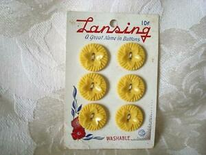 6 Vintage Yellow Plastic Sew Through Buttons Star Flower Lansing Card 3/4 In