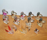 VINTAGE LUCITE CLEAR PLASTIC ANIMAL FIGURINES LOT CARNIVAL PRIZES SWANS DOGS
