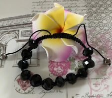 Faceted Black Bead Adjustable Bracelet