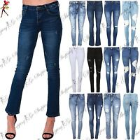 Womens Denim Jeans Ladies Knee Cut Out Skinny Fit Rip Destroyed Distressed Pants