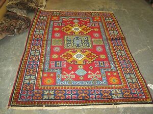 Vintage Russian Red Kazak Caucasian Rug 3'-9 x 5'-6 Hand Knotted Wool
