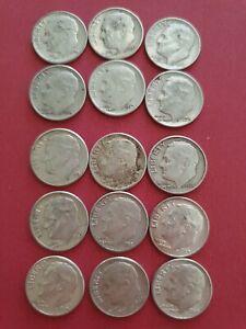 USA Dime Collection 1956 - 1964. 15 coins (900 Silver)