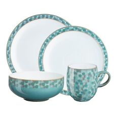 NEW HTF DENBY AZURE SHELL 4 PIECE DINNERWARE SET 1 PLACE SETTING MADE IN ENGLAND