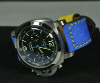 MA WATCH STRAP 26 24 22 GENUINE NUBUCK LEATHER FOREST BLUE YELLOW FOR PANERAI
