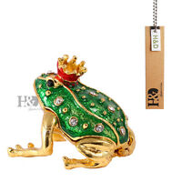 Handmade Crystal Metal Frog Trinket Box Figurines Jewelry Collectibles Xmas Gift