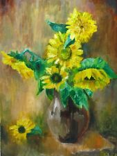 Flowers oil painting  Sunflowers painting still life Bouquet painting Floral