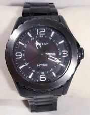 Men Titan Htse Solar Watch 1572kdb Black Case Bracelet Steel Band Day Date Large
