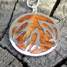 Hawaiian Koa Wood Jewelry Silver Dolphin Rhodium Plated Brass Pendant BRP1011