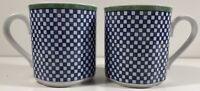 Villeroy & Boch Castell Switch 3 - Set 2 Coffee Mugs - Checkerboard Blue White