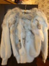 Connie A Lee Sweater NWT; Size M/L; cream color; Angora: Style #726; Fur & Beads