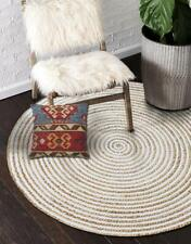 Reversible Rug Handmade Hand Woven Braided Jute and Cotton Area Rug, Round