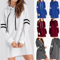 Women Long Sleeve Hoodie Sweatshirt Hooded Shirt Jumper Top Autumn Mini Dress