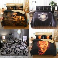 Skull Duvet Quilt Cover Set Gothic Comforter Bedding Set Pillow Case Queen King